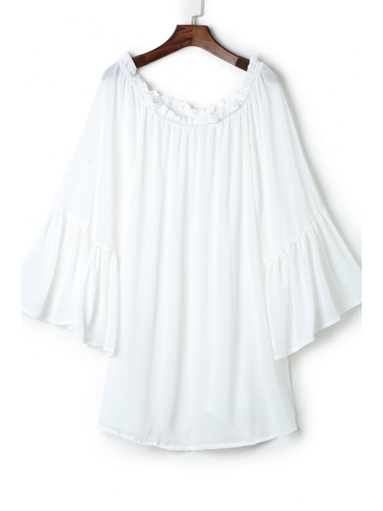 hot See-Through Slash Neck Solid Color Cover-Up - WHITE ONE SIZE(FIT SIZE XS TO M)