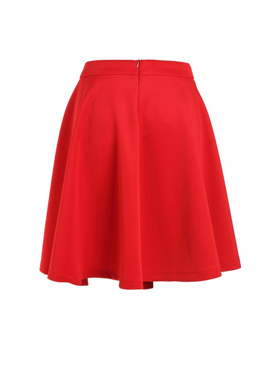 women's High-Waisted Ruffled Red Midi Skirt - RED L