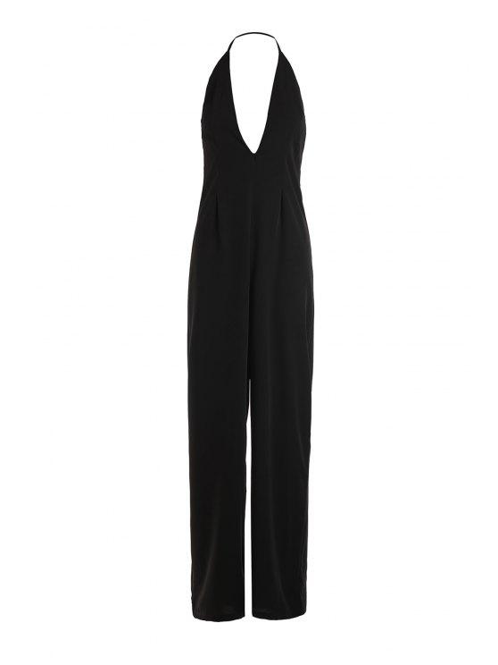 outfits Black Halter Backless Wide Leg Jumpsuit - BLACK XS