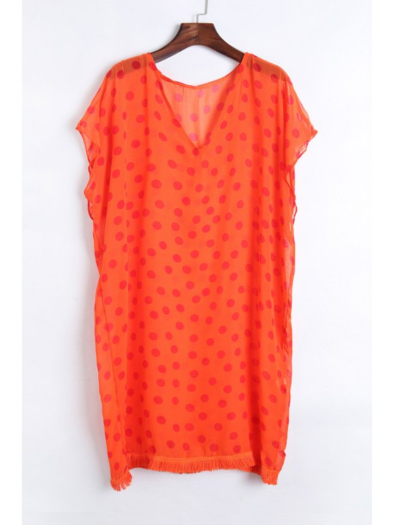 unique Polka Dot V Neck Half Sleeve Cover Up - ORANGE ONE SIZE(FIT SIZE XS TO M)