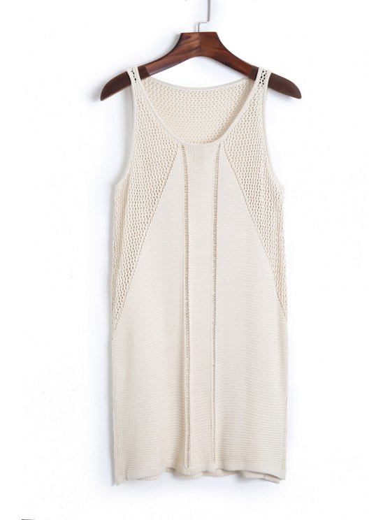 sale Solid Color Sleeveless Knit Cover Up - APRICOT ONE SIZE(FIT SIZE XS TO M)
