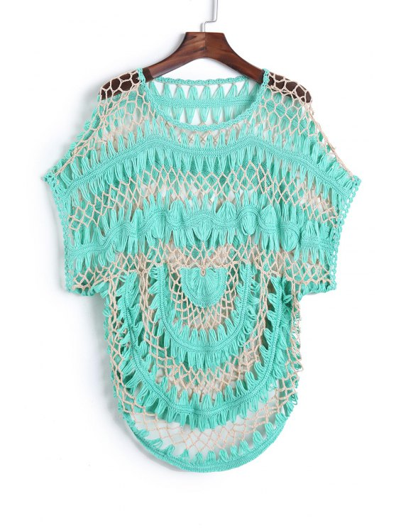 lady Cut Out Crochet Cover Up - GREEN ONE SIZE(FIT SIZE XS TO M)