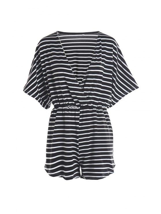 womens Deep V Neck Stripes Short Sleeve Playsuit - WHITE AND BLACK XL