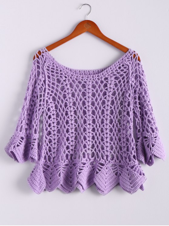 latest Solid Color Cut Out Round Collar Butterfly Sleeve Sweater - PURPLE ONE SIZE(FIT SIZE XS TO M)