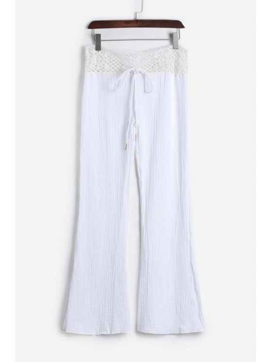 Lace Waist White Flare Pants - WHITE S Mobile