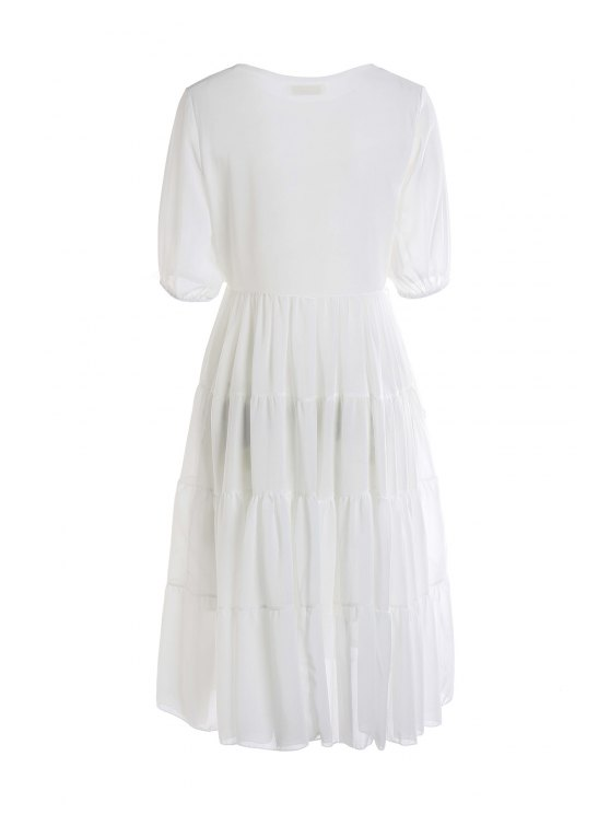 chic White Short Sleeve Maxi Dress - WHITE S