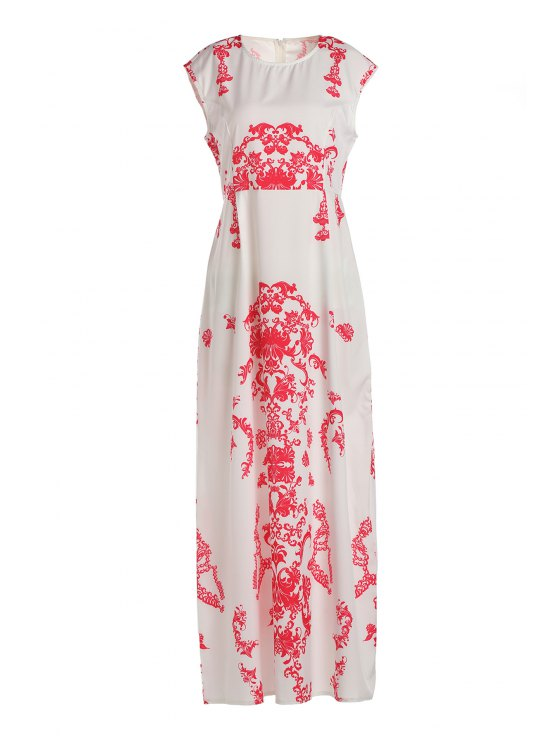 fashion Floral Print Floor-Length White Dress - WHITE XL