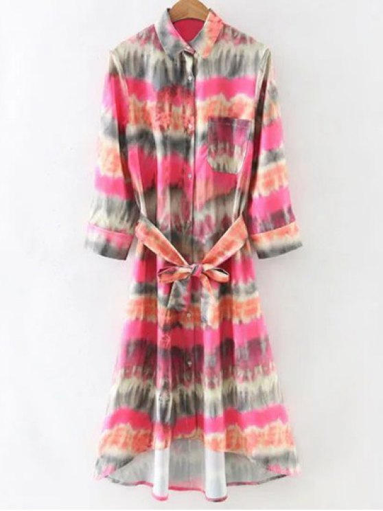 fancy Tie-Dyed Shirt Dress - COLORMIX S