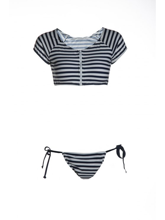 online Striped Scoop Neck Short Sleeve Bikini Set - BLUE AND WHITE L