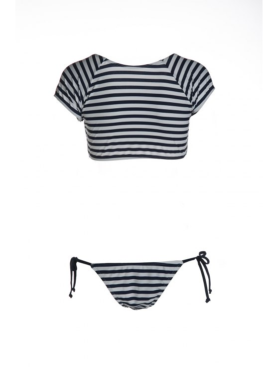 Striped Scoop Neck Short Sleeve Bikini Set - BLUE AND WHITE L Mobile