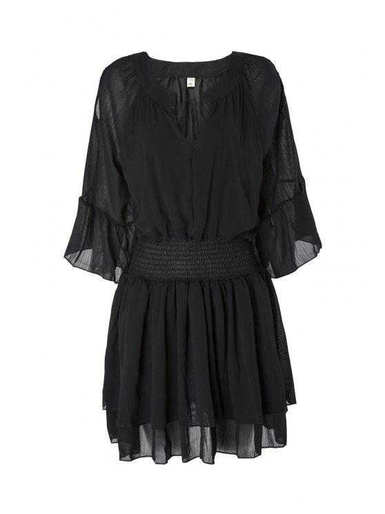sale Flare Sleeve Layered Plus Size Chiffon Dress - BLACK 3XL