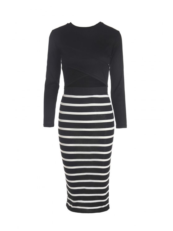 outfit Solid Color Long Sleeve Crop Top + Stripe Skirt - BLACK L
