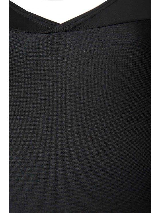 V Neck Long Sleeve One Piece Swimsuit - BLACK L Mobile