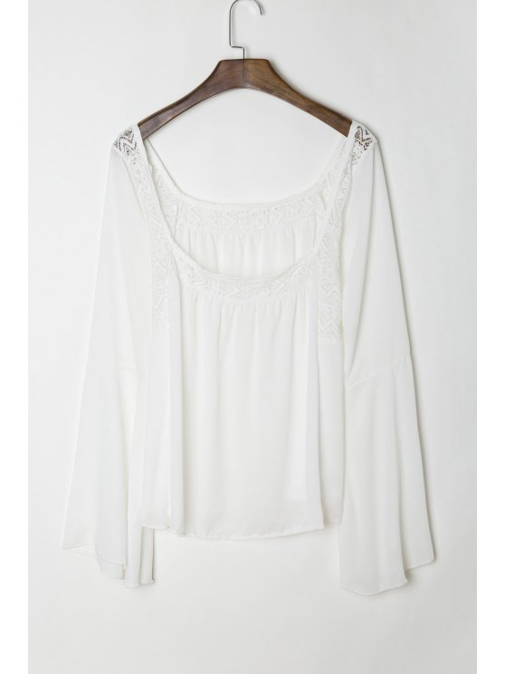 Lace Panel Flare Sleeve Tie Back Blouse - Blanco S