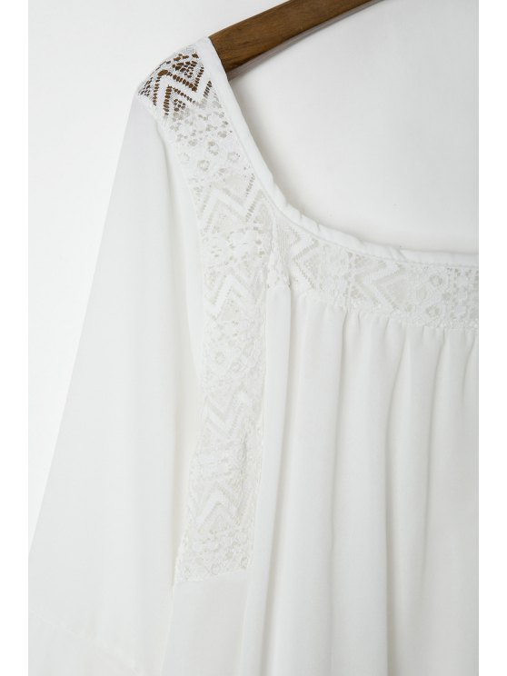 Lace Panel Flare Sleeve Tie Back Blouse - WHITE S Mobile