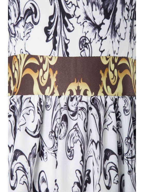 Abstract Printed Long Sleeve Dress - DEEP GRAY L Mobile