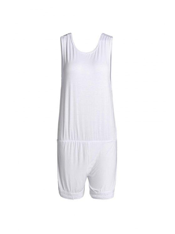 affordable White Open Back Sleeveless Tassel Playsuit - WHITE S