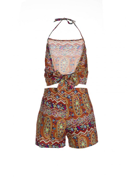 Halter Backless Crop Top and Printed Shorts Suit - ORANGE M Mobile