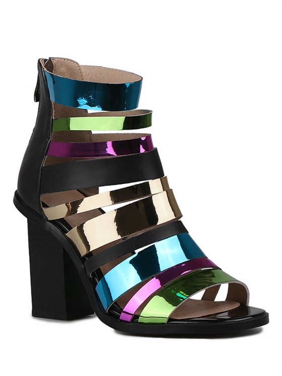 affordable Zip Colorful Straps Chunky Heel Sandals - BLACK 37