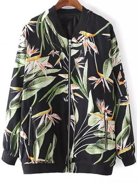 outfits Tropical Print Stand Neck Long Sleeve Jacket - BLACK M
