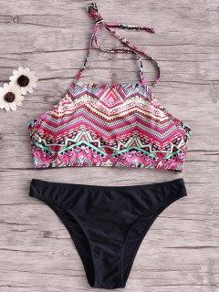 Wire Free Printing Halter Bikini Set - Black Xl