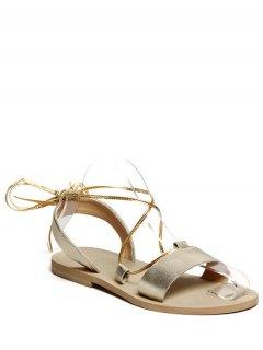 Flat Heel Lace-Up Sandals - Golden 36