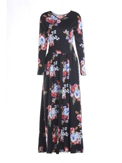 Colorful Floral Print Long Sleeve Dress - Black S