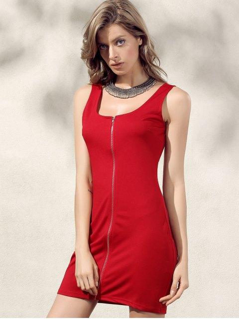 lady Bodycon Zip Dress - RED XL Mobile