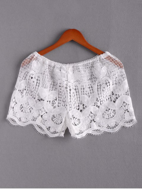 fashion Lace Beach Mini Shorts - WHITE L Mobile