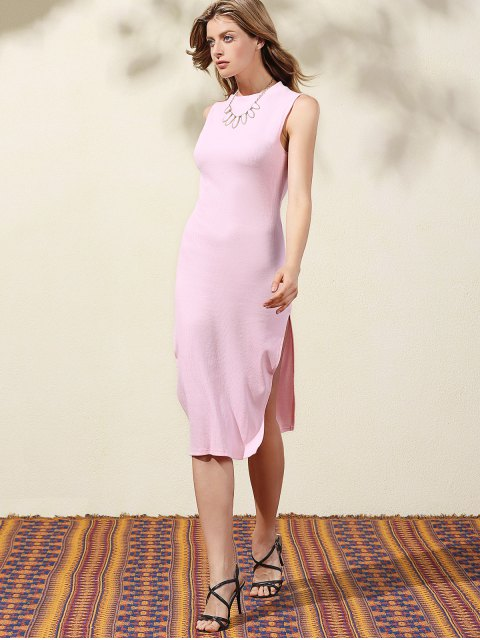 womens Side Slit Bodycon Dress - PINK XL Mobile