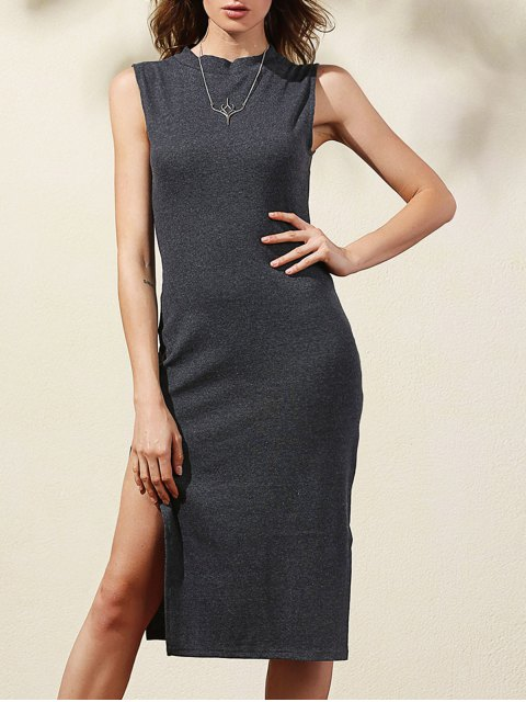 outfit Side Slit Bodycon Dress - DEEP GRAY L Mobile
