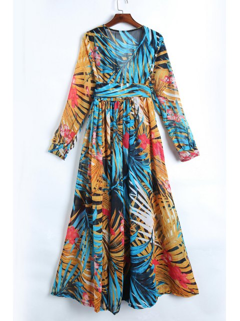hot Tropical Print Maxi Chiffon Dress - BLUE XL Mobile