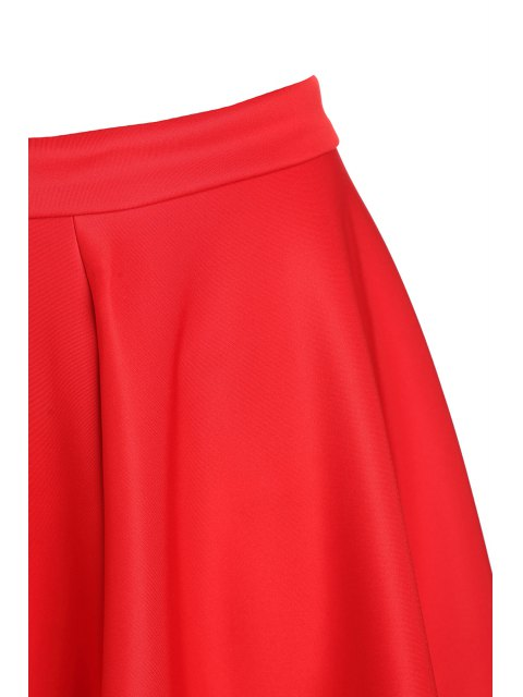 women's High-Waisted Ruffled Red Midi Skirt - RED L Mobile
