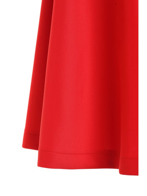 womens High-Waisted Ruffled Red Midi Skirt - RED S Mobile