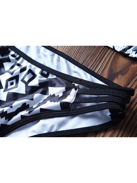 Ensemble de bikini à imprimé géométrique en forme de spaghetti - Blanc et Noir XL Mobile