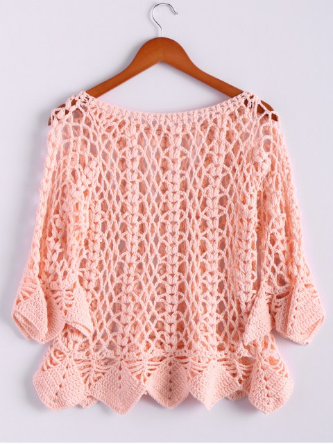 hot Solid Color Cut Out Round Neck Butterfly Sleeve Sweater - PINK ONE SIZE(FIT SIZE XS TO M) Mobile