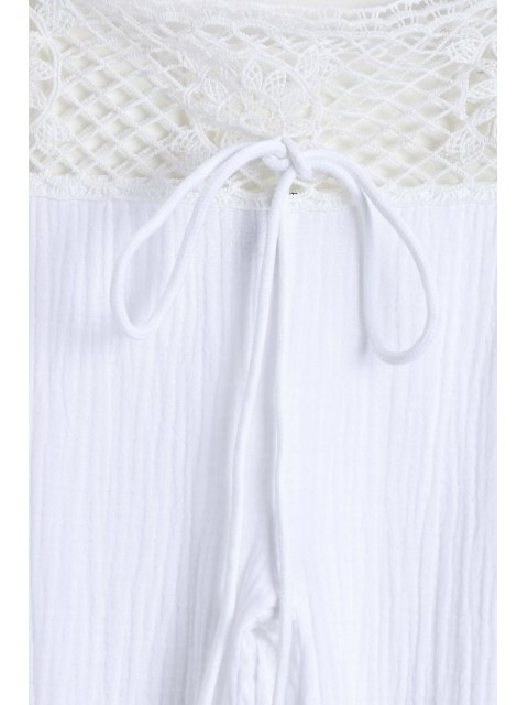 online Lace Waist White Flare Pants - WHITE XL Mobile