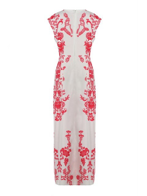 fashion Floral Print Floor-Length White Dress - WHITE XL Mobile