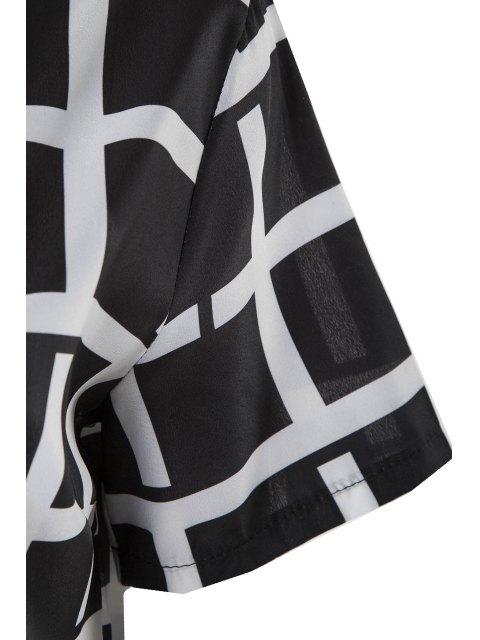 online Plaid Short Sleeve Dress - BLACK M Mobile