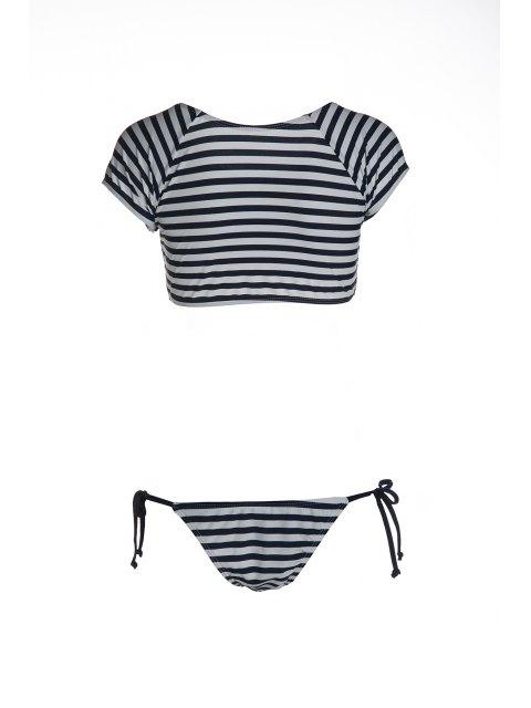 online Striped Scoop Neck Short Sleeve Bikini Set - BLUE AND WHITE L Mobile