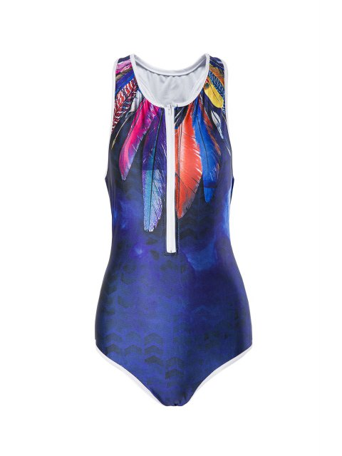 outfit Feather Print Round Neck One-Piece Swimwear - PURPLISH BLUE M Mobile
