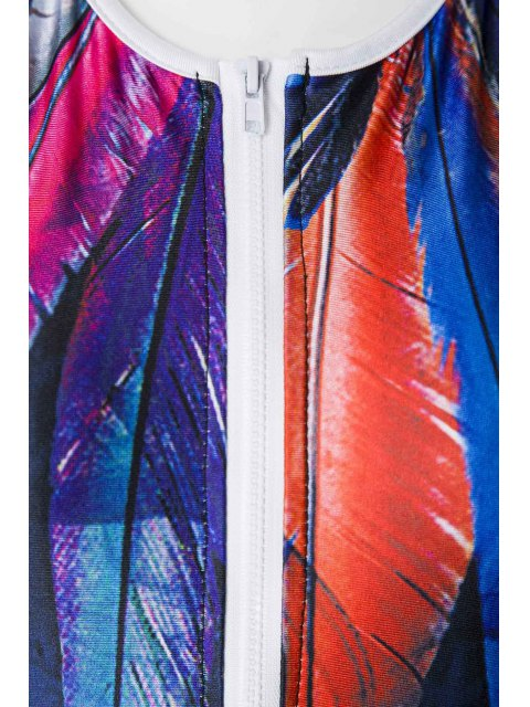 outfit Feather Print Round Neck One-Piece Swimwear - PURPLISH BLUE M Mobile