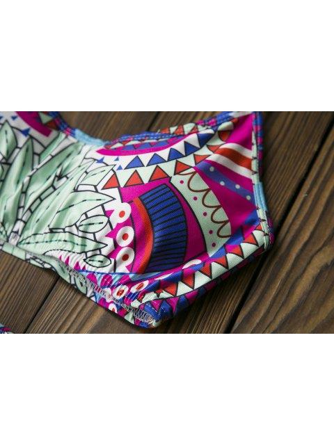 online Totem Print Spaghetti Strap Bikini Set - LIGHT GREEN L Mobile