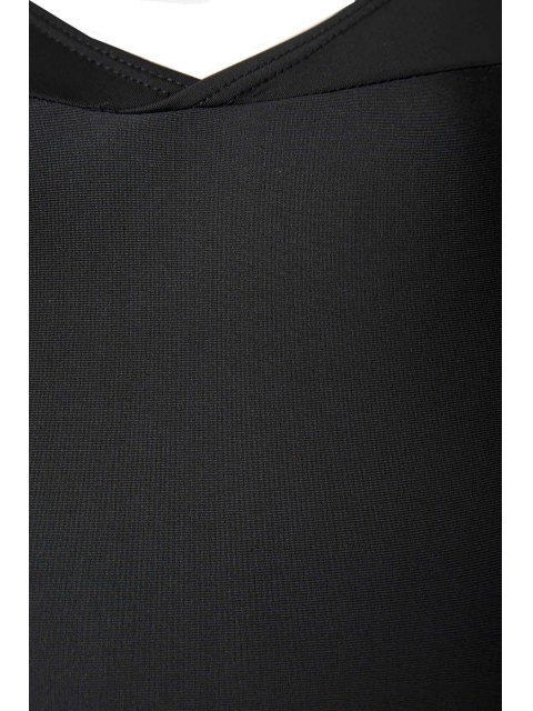 women's V Neck Long Sleeve One Piece Swimsuit - BLACK L Mobile