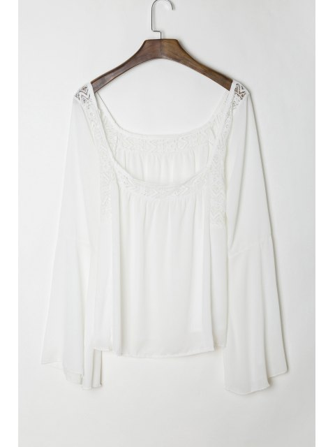 outfits Lace Panel Flare Sleeve Tie Back Blouse - WHITE S Mobile