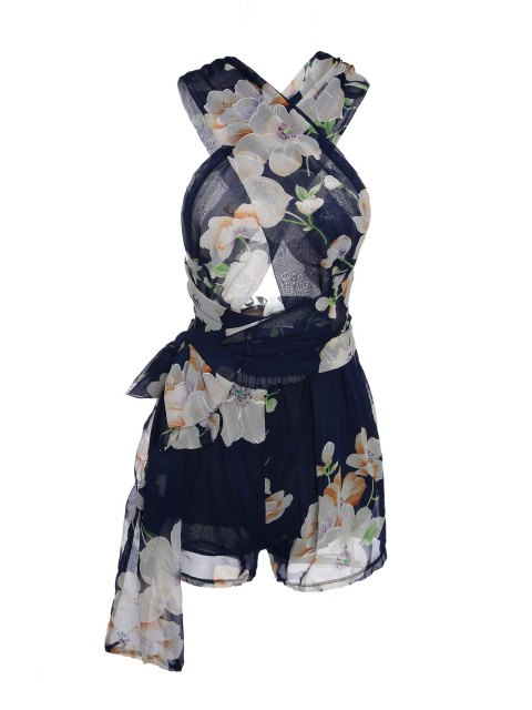 buy Plunging Neck Floral Print Self-Tie Romper - PURPLISH BLUE M Mobile