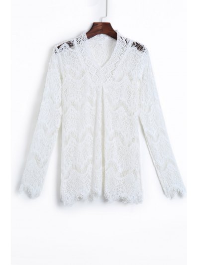 White Openwork Lace Hook Wave Cut Blouse - White L
