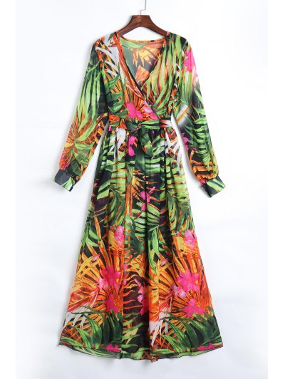 Tropical Print Maxi Chiffon Dress - Green