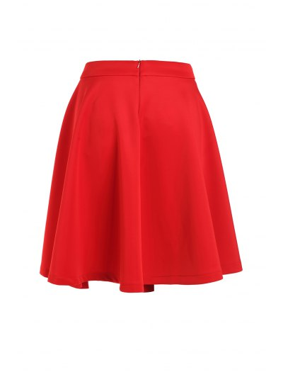 High-Waisted Ruffled Red Midi Skirt - Red