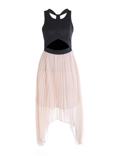 Sleeveless Color Block Hollow Pleated Dress - Pink One Size(fit Size Xs To M)